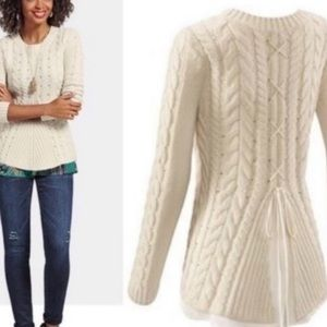Cabi Lace-Up Cable Knit Sweater